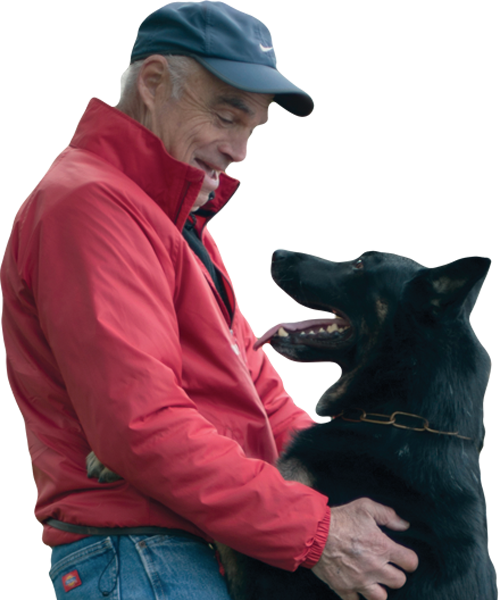 Donor Ron Mattana and his dog